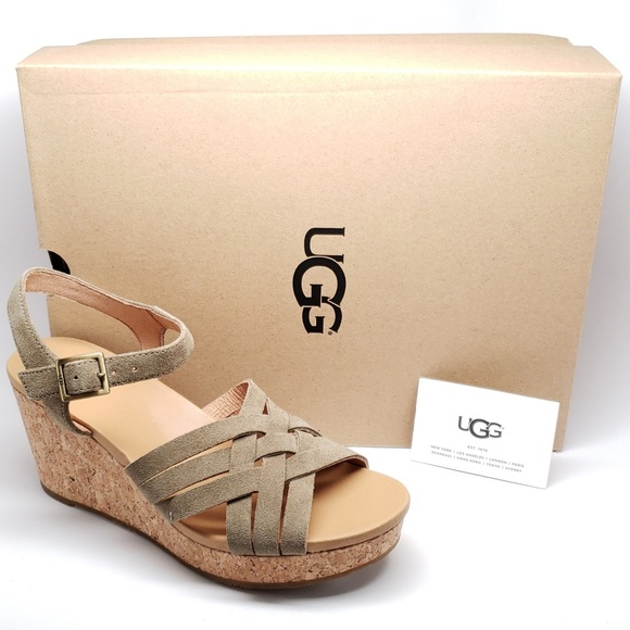 859e5f7c183 UGG Uma wedge Sandal in Antelope Womens Size 8 NWT